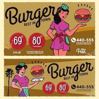 Insegna d'annata del segno del menu del manifesto dell'hamburger Vettore Premium