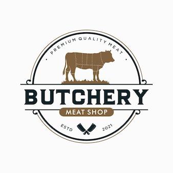 Modello di logo dell'emblema della macelleria vintage