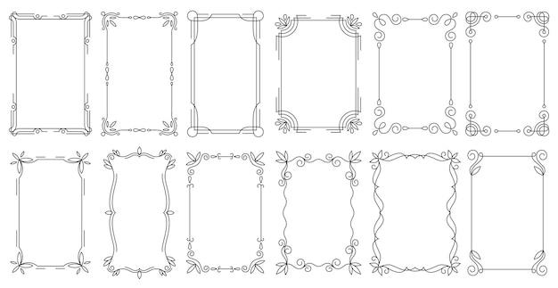 Set di bordi antichi calligrafici vintage