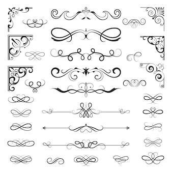 Bordi calligrafici vintage. divisori floreali e angoli per la decorazione disegna elementi decorati