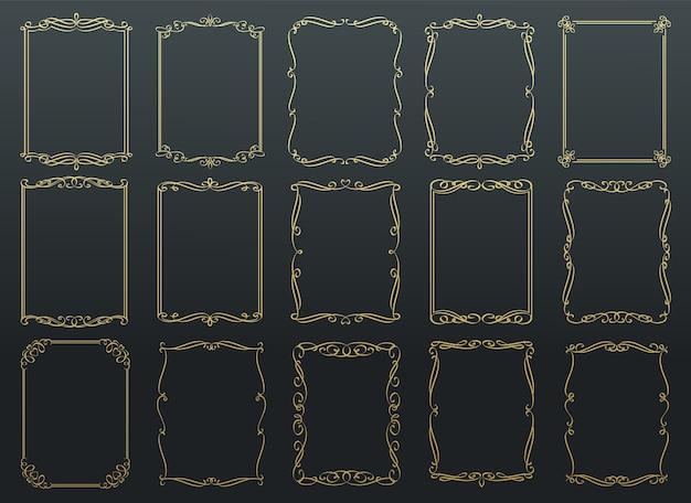 Cornici dorate calligrafiche vintage.