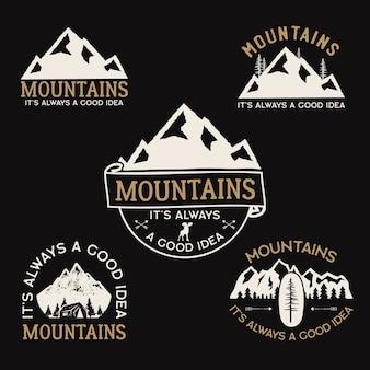 Loghi del campo vintage, set di distintivi di montagna.