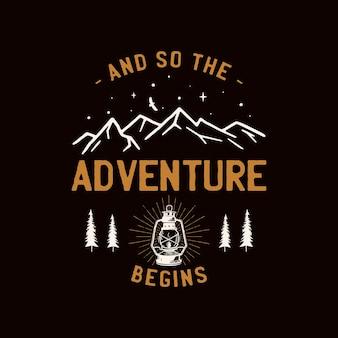 Logo vintage della toppa del campo, distintivo della fauna selvatica di montagna con alberi e tenda. emblema di avventura all'aria aperta. vettore di riserva.