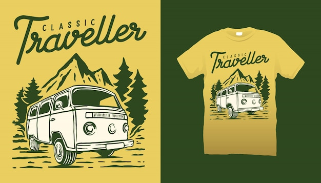 Camper van illustration tshirt design vintage