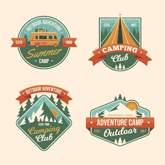 Collezione vintage di badge da campeggio