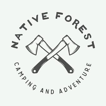 Etichetta con logo vintage campeggio all'aperto e avventura