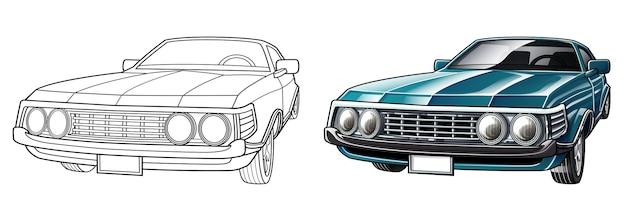 Pagina da colorare di cartoni animati auto d'epoca per bambini