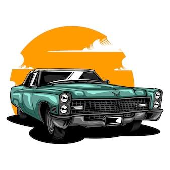 Illustrazione di auto d'epoca in tinta unita