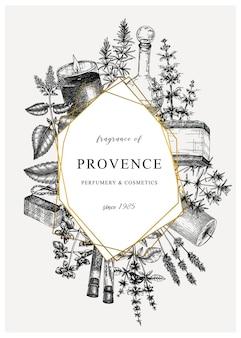 Carta vintage o design di invito con disegno di piante aromatiche e medicinali abbozzato a mano
