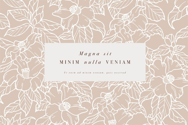Biglietto vintage con fiori di camelia ghirlanda floreale cornice floreale per negozio di fiori con disegni di etichette estate...