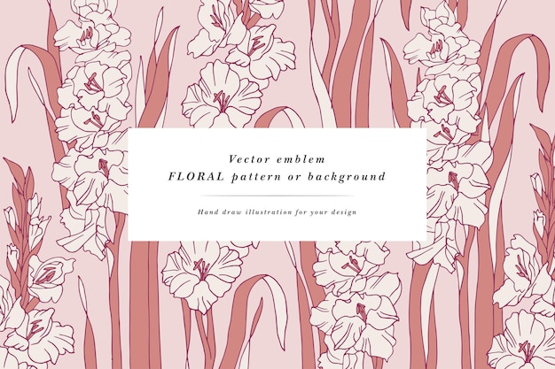 Biglietto vintage con fiori di gladiolo ghirlanda floreale cornice floreale per negozio di fiori con disegni di etichette flo...