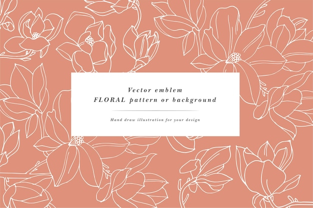 Carta d'epoca con fiori di magnolia. corona floreale. cornice floreale per negozio di fiori con disegni di etichette. cartolina d'auguri floreale di magnolia estiva. sfondo di fiori per il confezionamento di cosmetici.