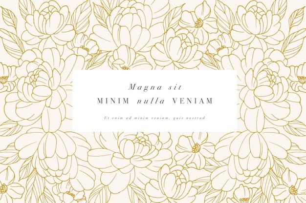 Carta d'epoca con fiori di peonie