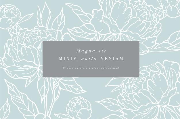 Carta d'epoca con fiori di peonia. cornice floreale per la progettazione di etichette.