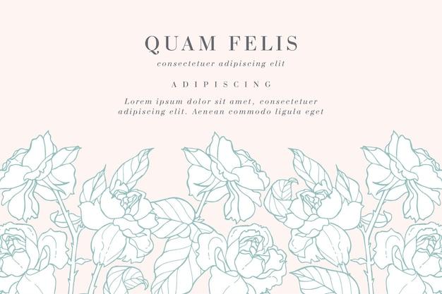 Carta d'epoca con fiori di rosa. ghirlanda floreale.
