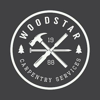 Etichetta vettoriale vintage di carpenteria e meccanico, emblema e logo