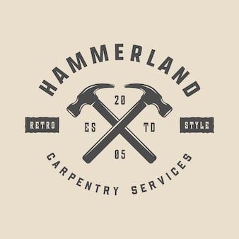 Falegnameria d'epoca in legno e meccanico etichetta distintivo emblema e logo vector illustration