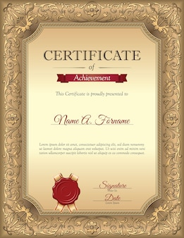 Modello di certificato di riconoscimento vintage con cornice di ornamento