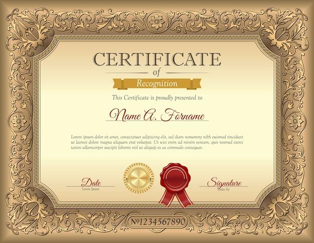Modello di certificato di riconoscimento vintage con cornice ornamento