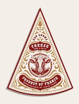 Un modello di etichetta di formaggio vintage, tutti gli elementi sono nel gruppo separato e modificabili