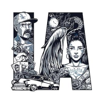 Concetto di tatuaggio vintage chicano con uomo latino bella ragazza con ali d'angelo serpente soldi auto retrò dadi orologio da tasca rose mano che tiene macchina del tatuaggio cuore infuocato illustrazione vettoriale isolato