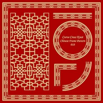 Modello di cornice cinese vintage impostato nodo trasversale della curva