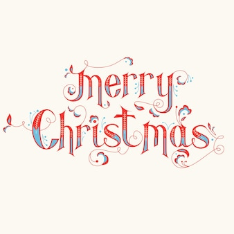 Vintage christmas calligraphy card - merry christmas lettering