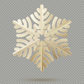 Fiocchi di neve d'annata della carta della decorazione di natale con ombra su fondo trasparente.