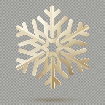 Fiocchi di neve d'annata della carta della decorazione di natale con ombra su fondo trasparente. Vettore Premium