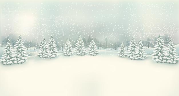 Sfondo di paesaggio invernale di natale vintage. Vettore Premium