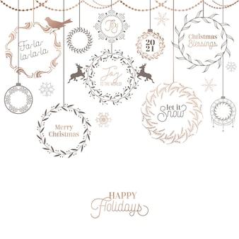 Design vintage ghirlanda di natale, scheda calligrafica vacanze invernali, decorazione tipografia pagina vettoriale, ornato, turbinii, filigrana, vecchia collezione di etichette, cornice di nozze
