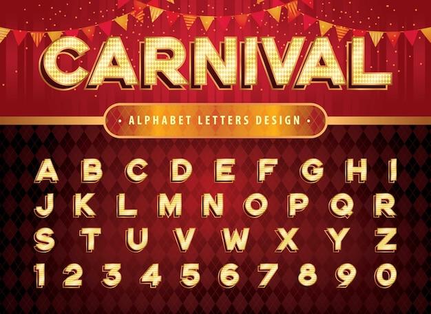 Lettere e numeri dell'alfabeto del circo vintage lettere del luna park del circo di carnevale alfabeto retrò con caratteri ombra