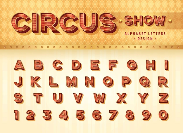 Lettere e numeri dell'alfabeto del circo vintage alfabeto 3d retrò con carattere ombra bold drop shadow letters set