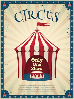 Poster vintage del circo. invito allo spettacolo. illustrazione.