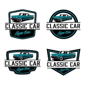 Modello di logo distintivo auto d'epoca d'epoca