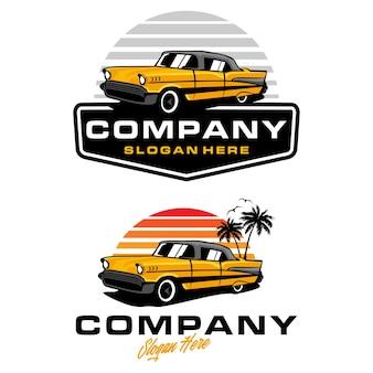 Modello di logo di auto d'epoca d'epoca Vettore Premium