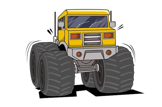 Disegno della mano dell'illustrazione del camion di mostro classico dell'annata