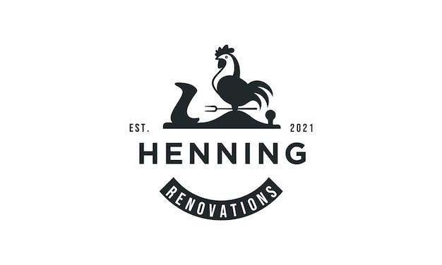 Design del logo del gallo in stile classico vintage