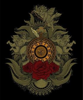 Orologio vintage con illustrazione di ornamento incisione.