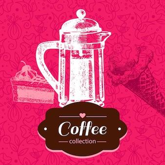 Sfondo caffè d'epoca. illustrazione di schizzo disegnato a mano. progettazione del menu