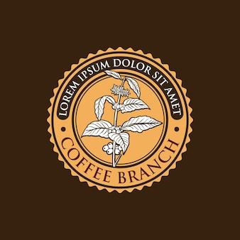Modello di logo vintage ramo di caffè