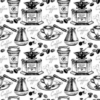 Reticolo senza giunte del caffè dell'annata. illustrazione vettoriale disegnata a mano