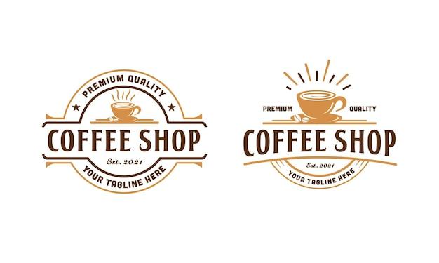 Design del logo della caffetteria vintage. timbro, etichetta, ispirazione per il modello di design del badge