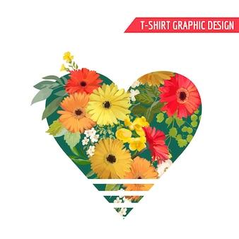 Design grafico vintage con fiori colorati per t-shirt, moda, stampe in