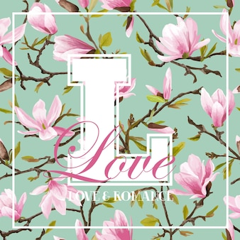Progettazione grafica di fiori colorati vintage