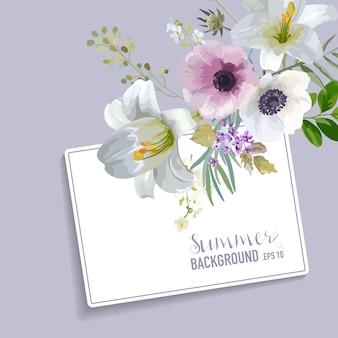 Design grafico vintage con fiori colorati