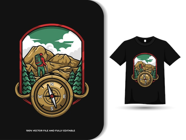 Illustrazione d'annata del distintivo di escursionismo avventura della bussola con il modello di disegno della maglietta