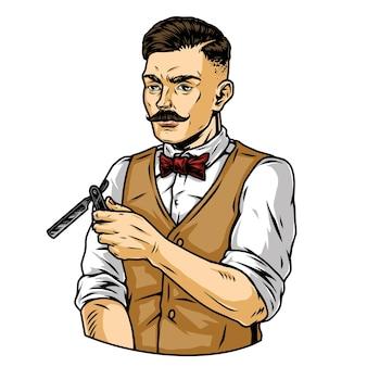 Concetto vintage di barbiere alla moda baffuto che indossa un gilet con cravatta a farfalla e che tiene l'illustrazione vettoriale isolata del rasoio