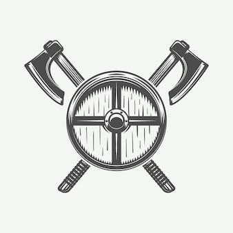 Asce incrociate vintage e scudo in stile retrò può essere utilizzato per il timbro dell'etichetta del distintivo dell'emblema del logo