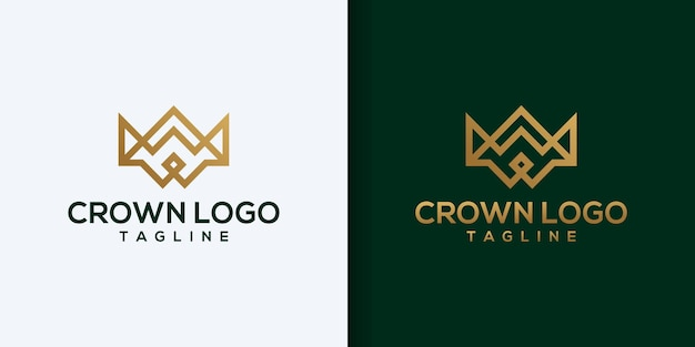 Vintage crown logo royal king queen abstract logo design template vettoriale